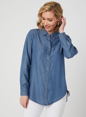 GG Jeans - Denim Style Tencel Shirt, Blue, hi-res,  denim shirt, denim top, denim blouse, long sleeve, tencel fabric, tencel fibre, tencel fiber, spring 2019, long sleeves