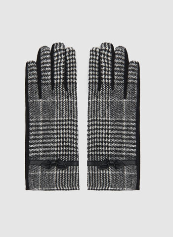 Prince Of Wales Print Gloves, Black, hi-res