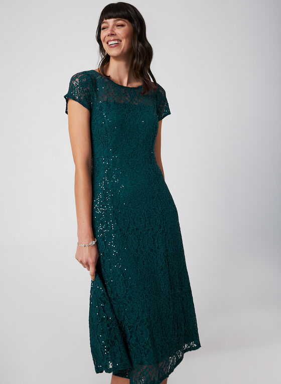 Fit & Flare Sequin Lace Dress, Green