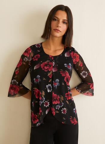 Floral Print Mesh Top, Black,  canada, 3/4 sleeves, top, floral print, floral print top, mesh top, spring 2020, summer 2020, sprint top