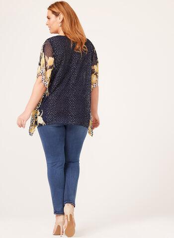 Blouse poncho en mousseline à motif pois et fleurs, Bleu, hi-res