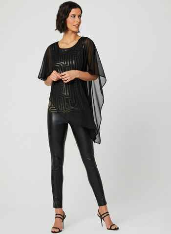 Metallic Poncho Top, Black, hi-res