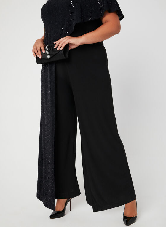 Sequin Poncho Jumpsuit, Black, hi-res