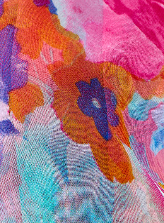 Foulard à motif floral aquarelle, Orange, hi-res