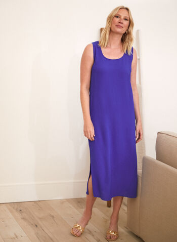 Maxi Dress & Blouse, Blue,  spring summer 2021, sets, 2 piece, tops, button down, button up, dresses, crew neck, boat neck, scoop neck, straight cut, textured,