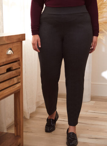Pantalon à enfiler pied-de-poule, Noir,  pantalon, bas, à enfiler, pull-on, jambe droite, motif, imprimé, pied-de-poule, taille élastique, extensible, automne 2021