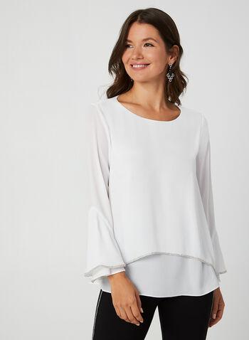 Rhinestone Detail Crepe Blouse, Off White, hi-res,  blouse, crepe, flutter sleeves, 3/4 sleeves, rhinestones, fall 2019, winter 2019