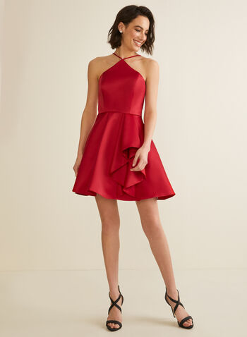 Flounce Detail Satin Dress, Red,  prom, party, dress, short, satin, flounce, crinoline, spaghetti straps, sleeveless, pockets, spring summer 2020