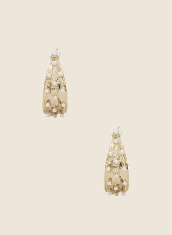 Pearl Detail Open Hoop Earrings, Off White,  earrings, hoop, open, pearl, metal, fall winter 2020