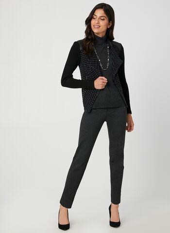 Vex - Veste style perfecto motif pied-de-poule, Noir, hi-res,  zips, fermeture éclair, métallisé, métallique, manches longues, faux cuir, automne hiver 2019
