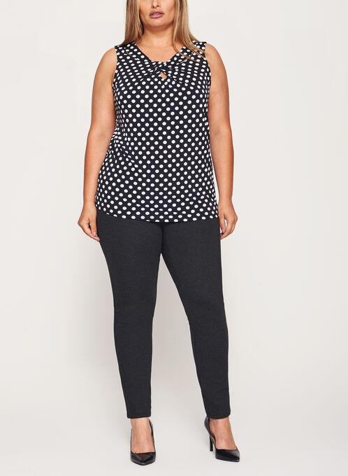 Dot Print Sleeveless Top, Black, hi-res