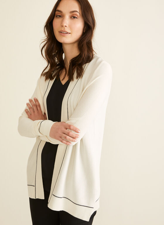 Open Front Knit Cardigan, Off White