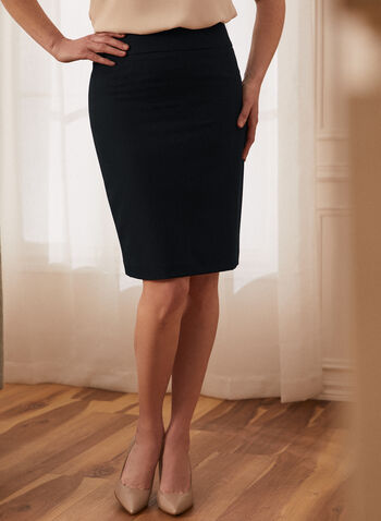 Slit Hemline Pencil Skirt, Blue,  skirt, pencil, straight fit, slit, hemline, back slit, made in Canada, comfort, stretch, work, professional, spring summer 2021