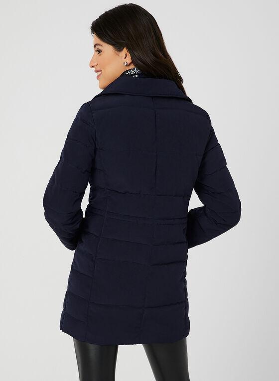 Manteau à col en fausse fourrure et capuchon, Bleu