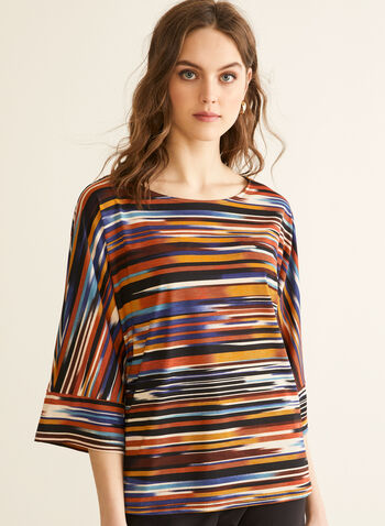 Stripe Print Kimono Sleeve Top, Orange,  top, blouse, kimono, elbow sleeves, boat neck, stretchy, striped, spring summer 2020