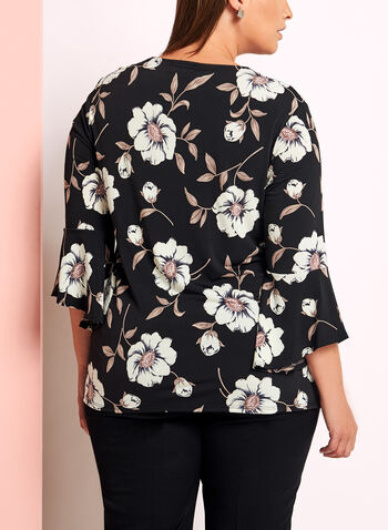 Floral Print 3/4 Bell Sleeve Top, , hi-res