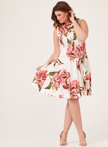 Floral Print Fit and Flare Dress, Orange, hi-res