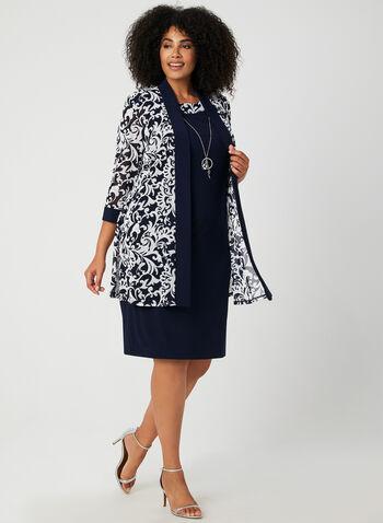 Robe et cardigan motif baroque, Bleu,  robe, sans manches, jersey, baroque, cardigan, épaulettes, maille filet, collier, automne hiver 2019