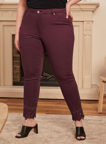 Jeans taille haute à ourlet ornementé, Violet,  taille haute, jambe étroite, poches, broderies, automne hiver 2020