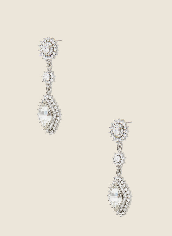Crystal & Stone Dangle Earrings, Silver