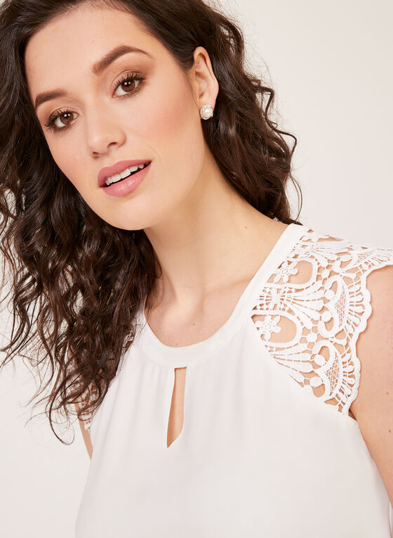 Sleeveless Lace Shoulder Blouse, Off White, hi-res