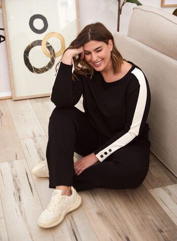 Haut à manches longues et blocs de couleurs, Noir,  haut, pull, manches longues, encolure bateau, boutons décoratifs, blocs de couleurs, tricot épais, automne hiver 2021