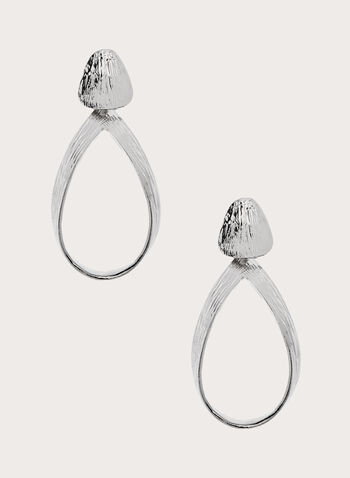 Textured Hoop Earrings, Silver, hi-res