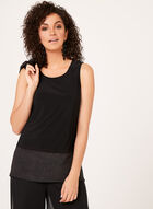 Contrast Hem Sleeveless Top, Black, hi-res