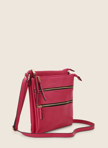 Zipper Crossbody Bag, Pink,  bag, crossbody, leatherette, faux leather, zipper, spring summer 2020