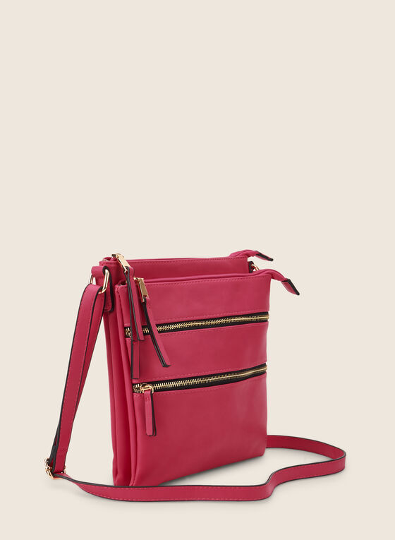 Zipper Crossbody Bag, Pink