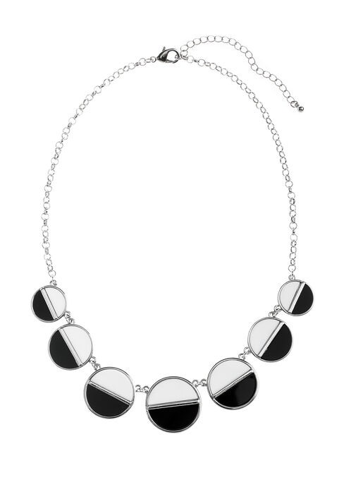 Two-Tone Circle Necklace, Black, hi-res