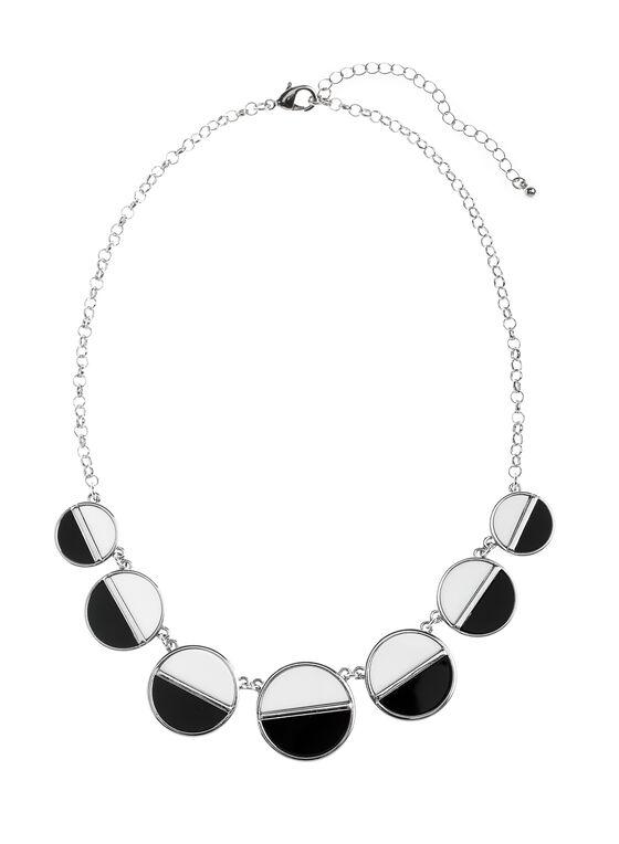 Two-Tone Circle Necklace, Black, hi-res
