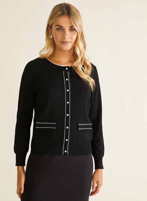 Cardigan boutonné à détails contrastants, Noir