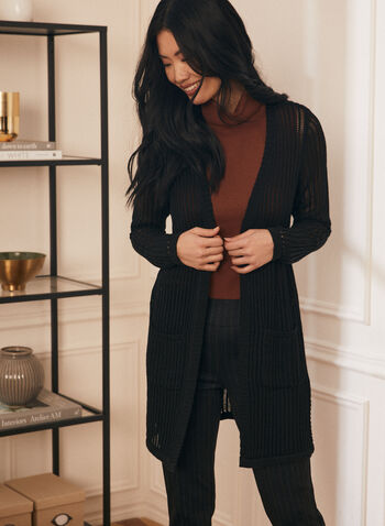 Open Front Knit Cardigan , Black,  cardigan, long sleeves, crochet stitch, side slits, pockets, Spring 2020