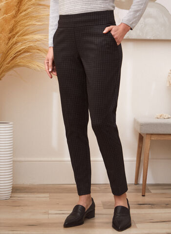 Houndstooth Print Pull On Pants, Black,  fall winter 2021, pants, bottoms, pull-on, pull on, elastic waist, slim leg, pockets, houndstooth, printed, ponte di roma