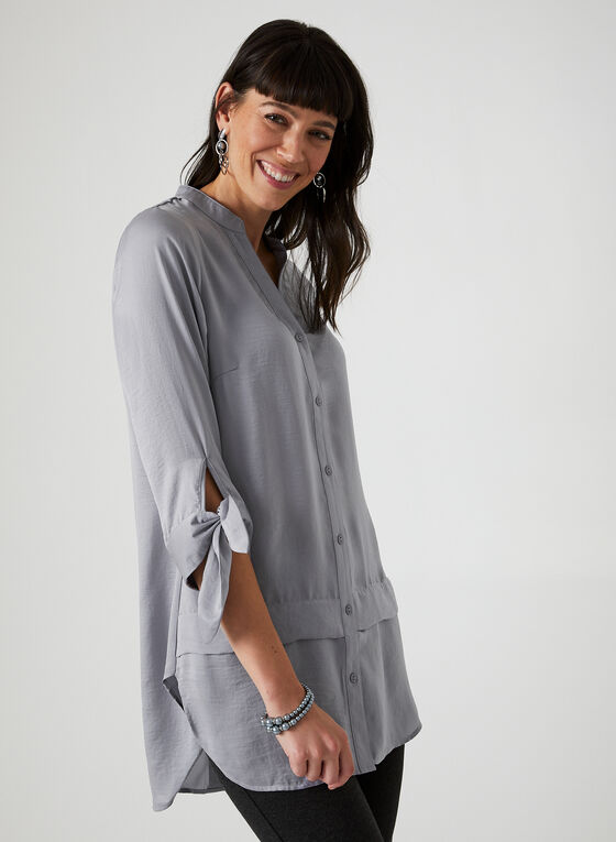 ¾ Sleeve Tunic Blouse, Silver