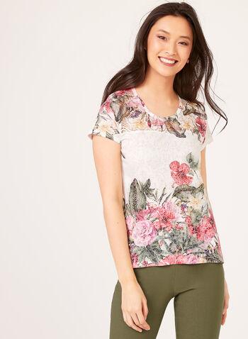 Floral Print Lace Yoke T-Shirt, Blue, hi-res