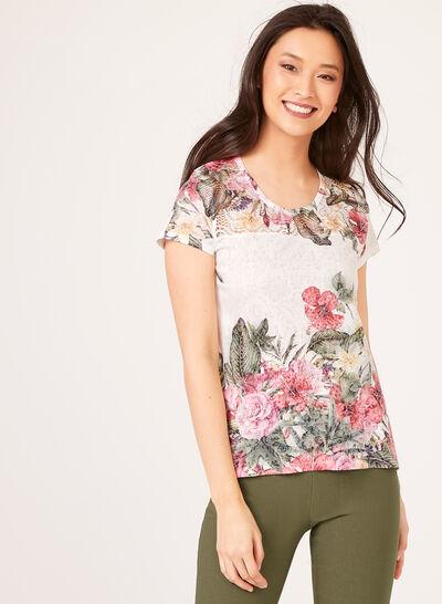 T-shirt à imprimé floral et détails crochet