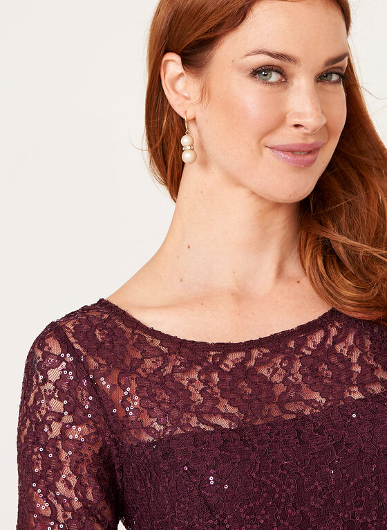 Sequin Lace Fit & Flare Dress , Purple, hi-res