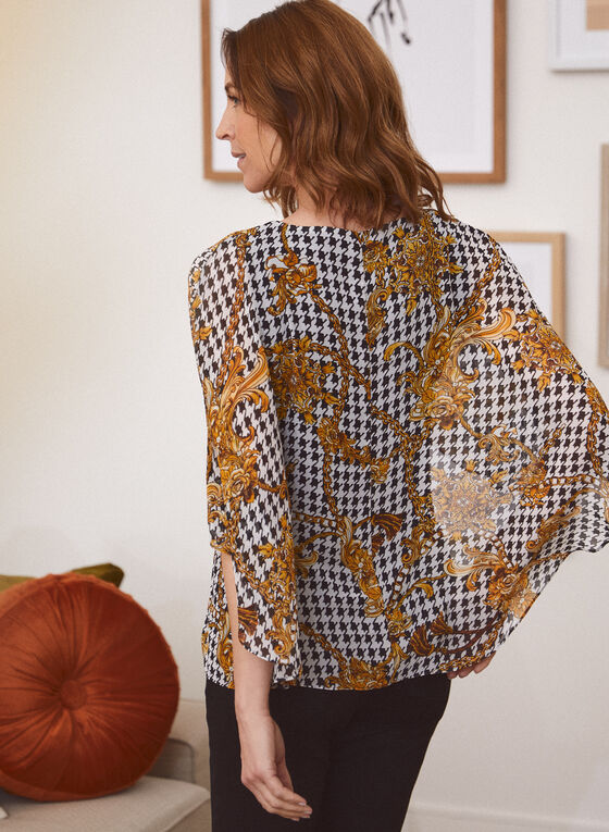 Houndstooth Print Chiffon Blouse, Brown
