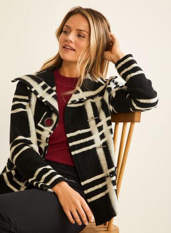 Elena Wang - Wool Blend Coat, Black,  coat, wool, acrylic, geometric, button, fall winter 2020