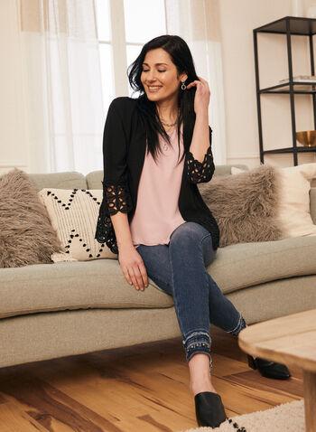 GG Jeans - Jeans droit à ourlet ornementé, Bleu,  jeans, droit, denim, ourlet effiloché, strass, automne hiver 2020