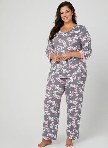 Floral Print Pajama Set, Blue, hi-res