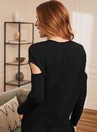 Slit Sleeve Knit Top, Black