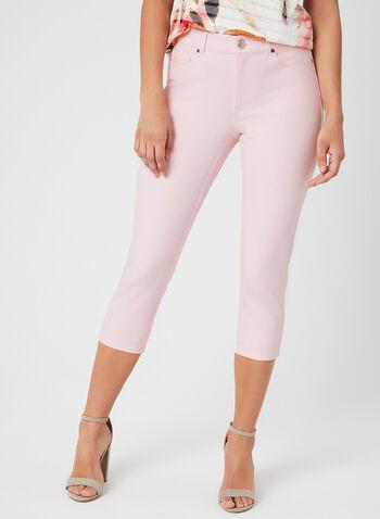 Capri coupe signature à jambe étroite, Rose, hi-res,  5 poches, broderies, coton, printemps 2019