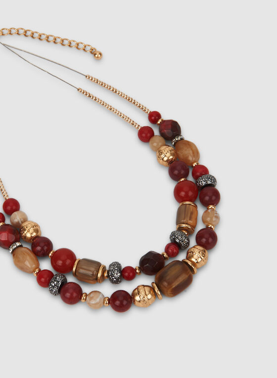 Mixed Bead Necklace, Red, hi-res