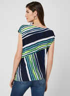 Geometric Print Top, Blue, hi-res