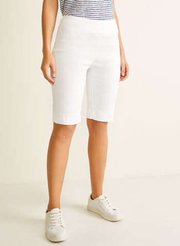 Jules & Leopold - Jacquard Bermuda Shorts, White,  bermuda, shorts, pull-on, straight, pleats, textured, jacquard, spring summer 2020