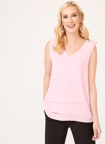 Tiered Crepe Camisole, Pink, hi-res