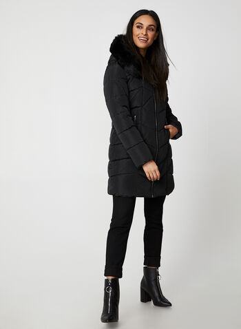 Northside - Quilted Coat With Vest, Black,  coat, matte, synthetic, hood, faux fur, vest, Northside, quilted, fall winter 2019